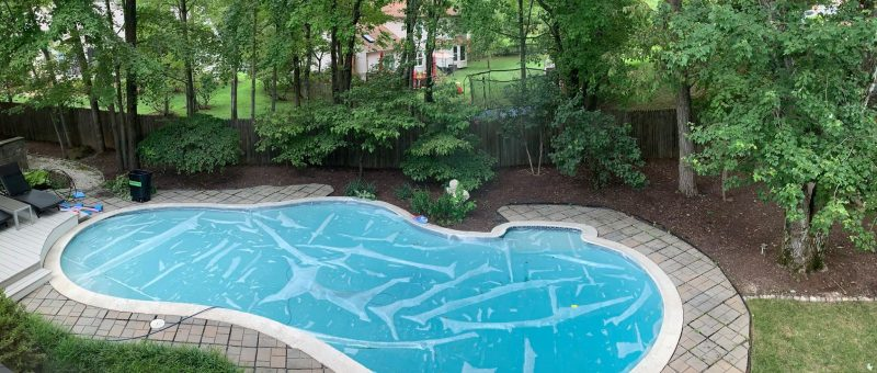We have an organic shape pool and recently added a pool heater and solar cover to the mix