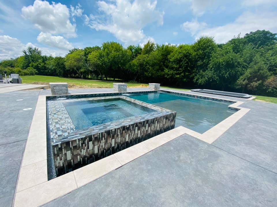 Swimming Pool Ideas : We did stamped dyed concrete