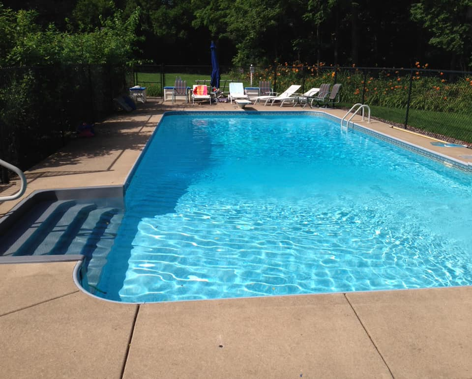 Various activities at different depths. This is my pool and I designed it purposely so all could enjoy